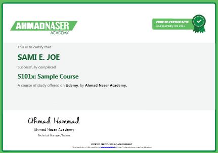 Certification – Ahmad Naser